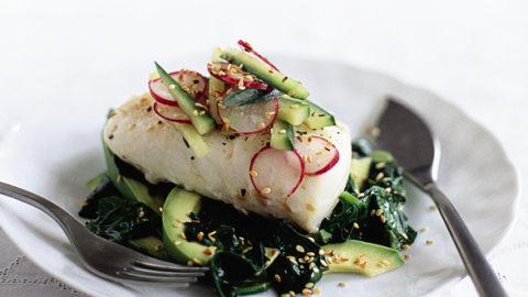 Roast Cod With Cucumber And Radish Salad