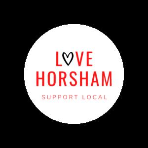 LOVE HORSHAM WHITE CIRCLE LOGO
